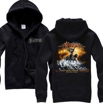7 designs Saxon knight Skull Soft Warm Rock sudadera Hoodies Winter jacket punk hardrock heavy metal zipper fleece Sweatshirt