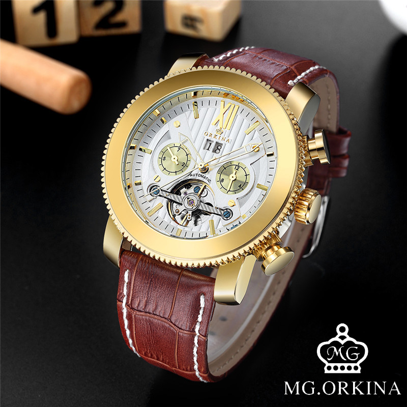 MG. ORKINA Luxury Tourbillon Automatic Watch Men Calendar Fashion Self-Wind Mechanical Wristwatches for Mans Relojes Hombre Gift brand mstre fashion classic watch men s business casual auto self wind wristwatches tourbillon day date calendar waterproof 100m