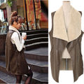 Faux Fur Vest Lady Winter Warm Cream Waistcoat Long Gilet Jacket Outerwear Tops