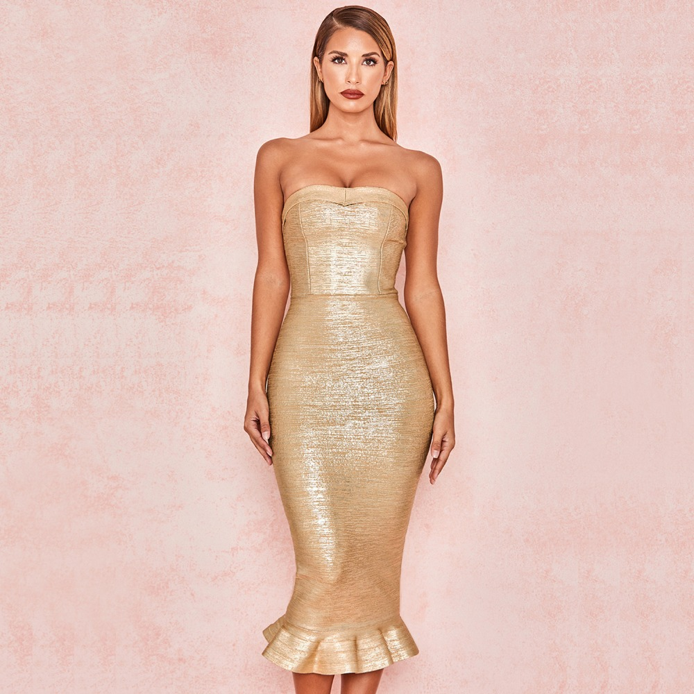 2019 New Strapless Bandage Dress Women Summer Sexy Ladies Clothes Bodycon Fashion Evening Party Dresses Gold
