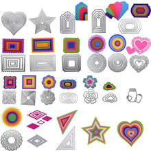 Metal Heart Rectangle Circle st Cutting Dies Stencils DIY Scrapbooking photo album Embossing Paper Cards Decor Painting tool