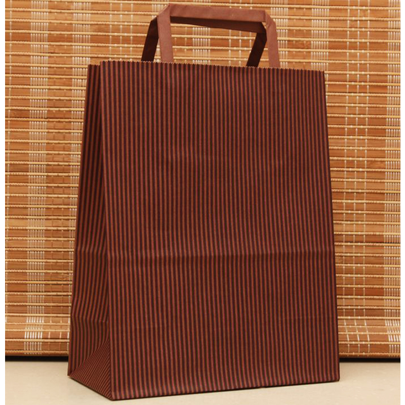 27x21x11cm Coffer Stripe Festival Shopping Bags Paper Bag With Handles 10pcs Paper Gift Bag With Handle High Quantity H0200