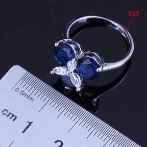 Image 5 - אלגנטי כחול מעוקב Zirconia לבן CZ 925 כסף סטרלינג תכשיטי סטי עגילי תליון שרשרת טבעת גודל 6 7 8 9 10 V0002