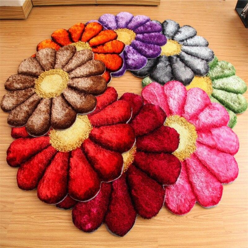 Livraison gratuite ne peut pas être lavé nouveau diamètre 80-150 cm 3D Rose tapis fleur tapis pour salon Stretch fils tapis porte tapis