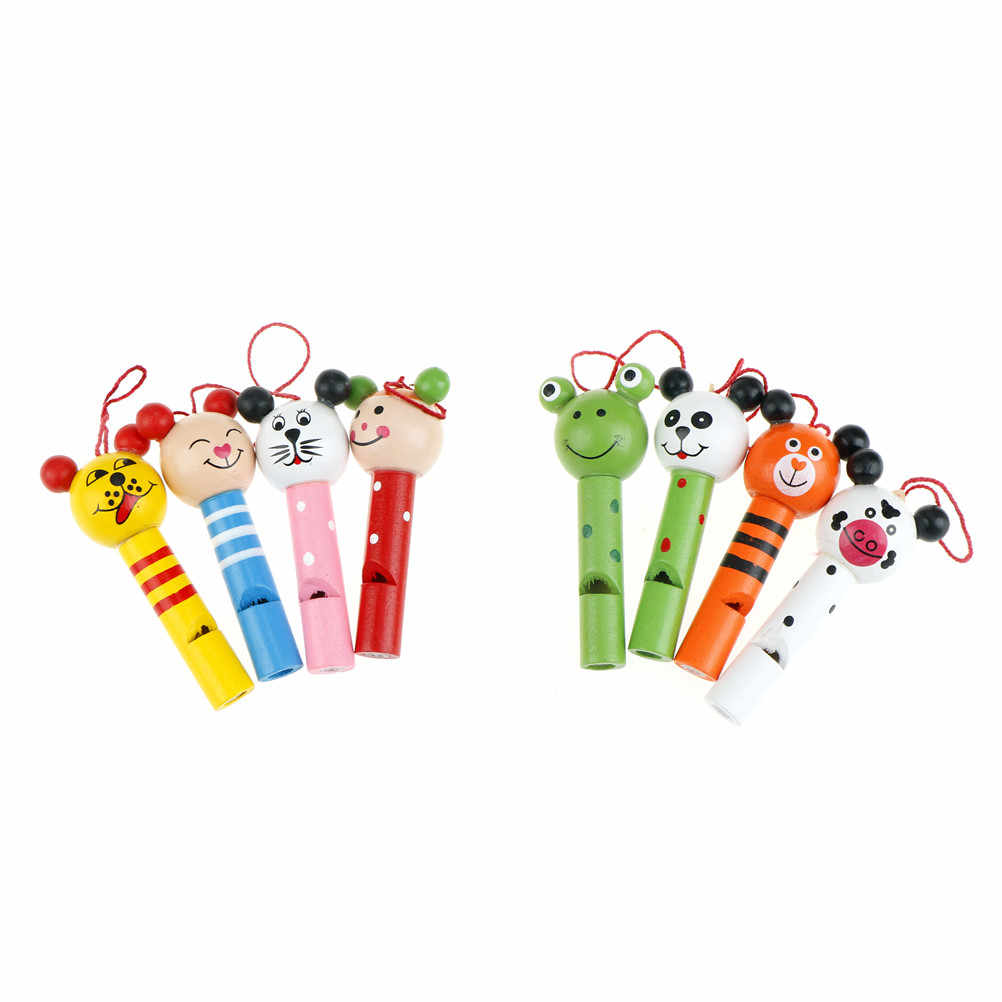 1pc Cute animals mixed wooden Lip Whistles Kids Birthday Decoration Party christmas toy Supplies Gift Toys Random Color