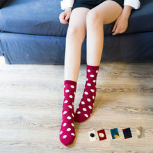 Warm Cotton Female Dot Hip Hop Cool Art Casual Socks Women Wire Red Couples Skateboard Dot Happy Socks Spring Modern Sock(China)