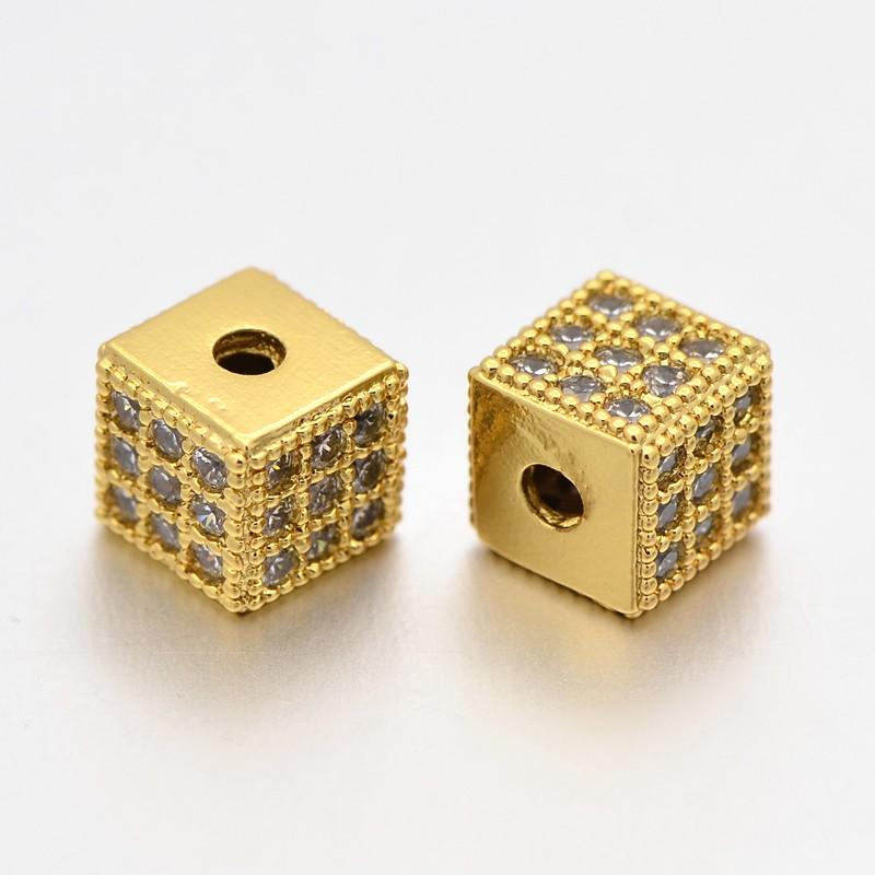 Fashionable Brass Micro Pave Cubic Zirconia Cube Beads Hole: 1.5mm Save 50-70% Golden 6x6x6mm