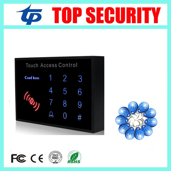 Single door 125KHZ RFID card access controller EM card door access control reader touch keypad access control system +10pcs key good quality smart rfid card door access control reader touch waterproof keypad 125khz id card single door access controller