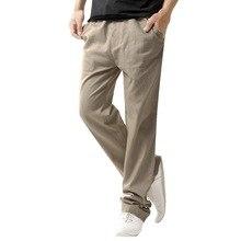 33df601c Laamei 5XL анти-микробный здоровый льняные Мужские штаны 2019 Лето дышащий  Тонкий льняные брюки Мужской