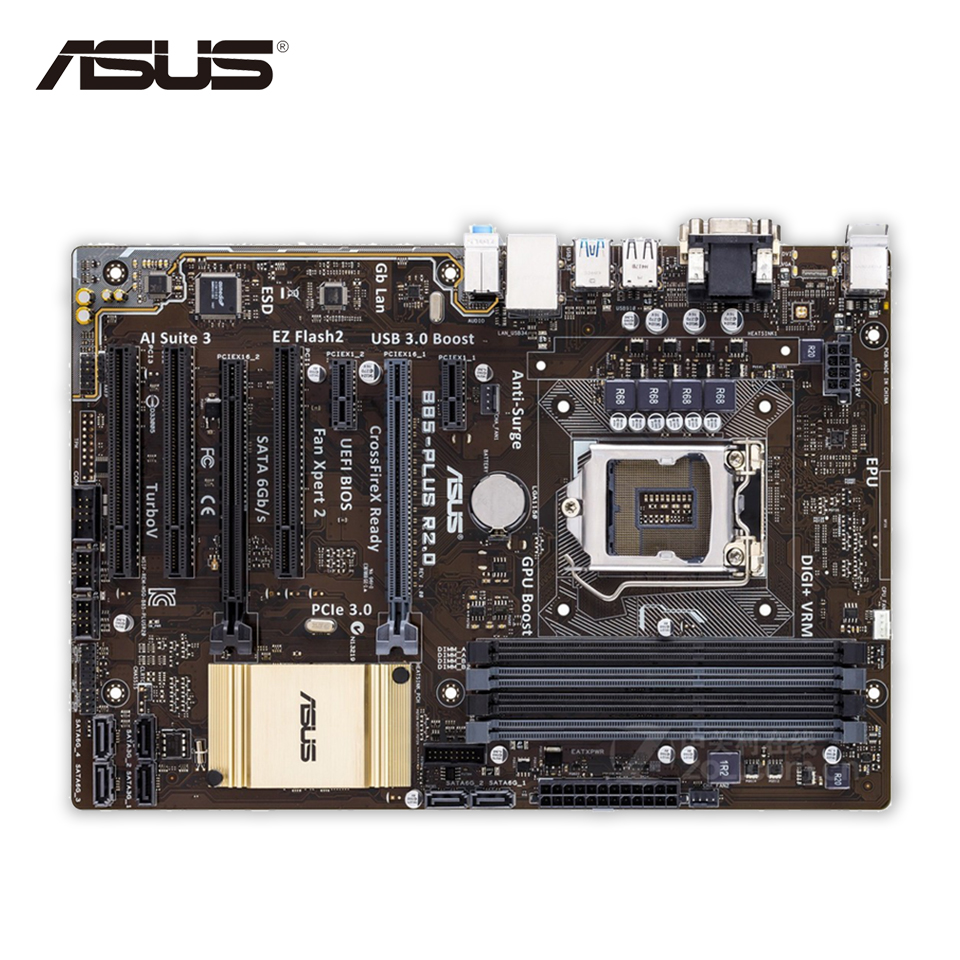 Original Used Asus B85-PLUS R2.0 Desktop Motherboard B85 Socket LGA 1150 i7 i5 i3 DDR3 32G SATA3 USB3.0 ATX 100% Fully Test asus h87 plus deluxe board 1150 b85 motherboard
