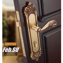 85*45MM  BRASS MATERIAL  GOLD COLOR DOOR HANDLE LOCK WITH COPPER CYLINDER