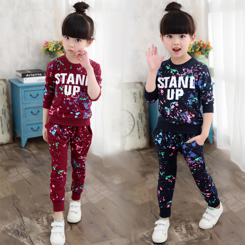Girls Tracksuits 100% Cotton Spring Sportswear Outfits Girls Sports Suits Graffiti Letter Clothing Sets For 5 6  8 10 12 14 Year 2017 kids clothing sets for girls striped print sports suits girls tracksuits cotton casual sportswear children outfits 13 14 t