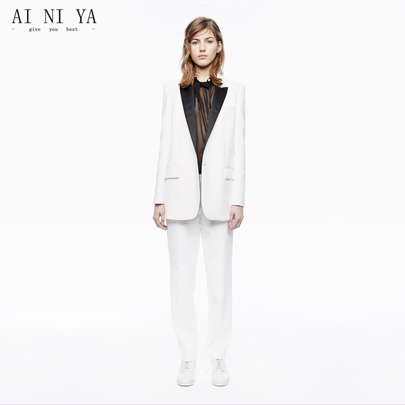 New White Business Women Pant Suits Female Trousers Suit Black Lapel Autumn Winter Professional Pantsuits With Jacket And Pants