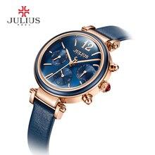 2017 Popular Julius Praça Dial Dress Mulher Relógios De Luxo Relógios de Pulso De Quartzo De Couro Relógio Presente Reloj Mujer Montre Femme