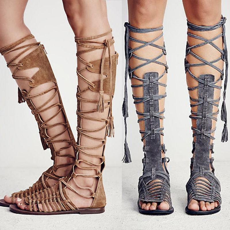 Sandals Flats Roman-Shoes Tassels Lace-Up Strappy Gladiators Knee-High Women Summer Hollow-Out