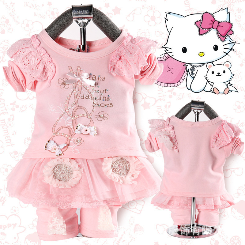 Anlencool Free shipping 2017 spring fashion children cotton backing piece fitted lace skirt suits baby clothing girl clothes set