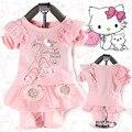 Anlencool Frete grátis 2017 moda primavera crianças algodão fazendo peças equipado ternos saia de renda roupa do bebê roupas de menina definido