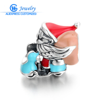 Christmas Gift 925 Sterling Silver Santa Claus Charms Fit Charm Bracelets DIY Beads Jewelry Makings Jewelry