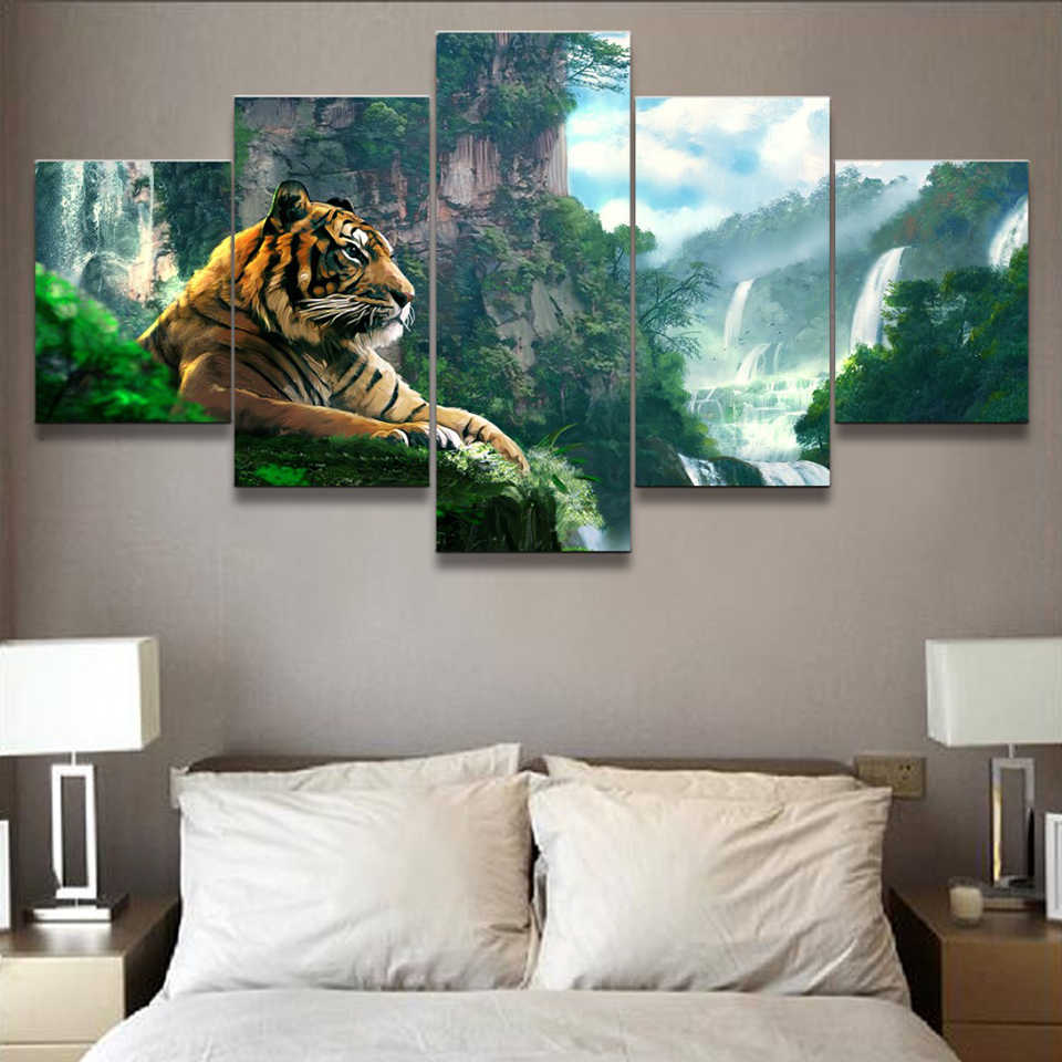 Living Room HD Printed Poster Modern Wall Art Painting 5 Panel Tiger And Mountain Waterfall Home Decoration Pictures Framework