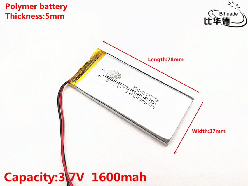 3.7V,1600mAH,503778 Polymer lithium ion  Li-ion battery for TOY,POWER BANK,GPS,mp3,mp4