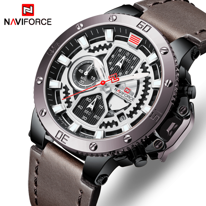 c70fd1bd8 NAVIFORCE Watch Men Fashion Sport Quartz Clock Mens Watches Top Brand Luxury  Leather Military Waterproof Watch Relogio Masculino