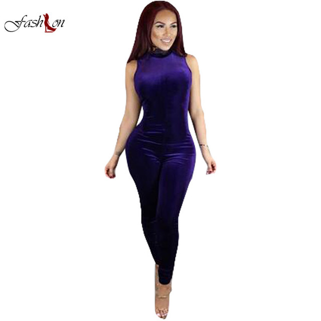 Women Jumpsuits One Piece Korean Down Fabric Half Turtleneck Sleeveless Back Zipper Skinny Rompers Female Sexy Pants Bodysuits