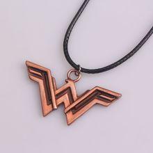 "Retro Super Hero Wonder Woman Necklace Letter ""W"" Black Leather Chain Necklace for Best Friends"