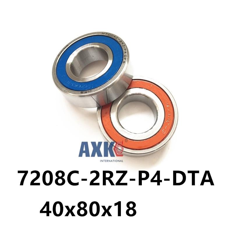 1 pair AXK  7208 7208C-2RZ-P4-DTA 40x80x18 Sealed Angular Contact Bearings Speed Spindle Bearings CNC ABEC 7 Engraving machine mochu 7205 7205c 2rz p4 dta 25x52x15 2 sealed angular contact bearings speed spindle bearings cnc abec 7 high quality