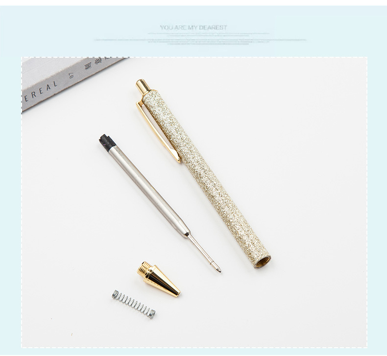 1 pcs Kawaii ball point pens glitter Metal ballpoint pens student pens ballpoint pens for school stationery office supplies 1 0m in Ballpoint Pens from Office School Supplies