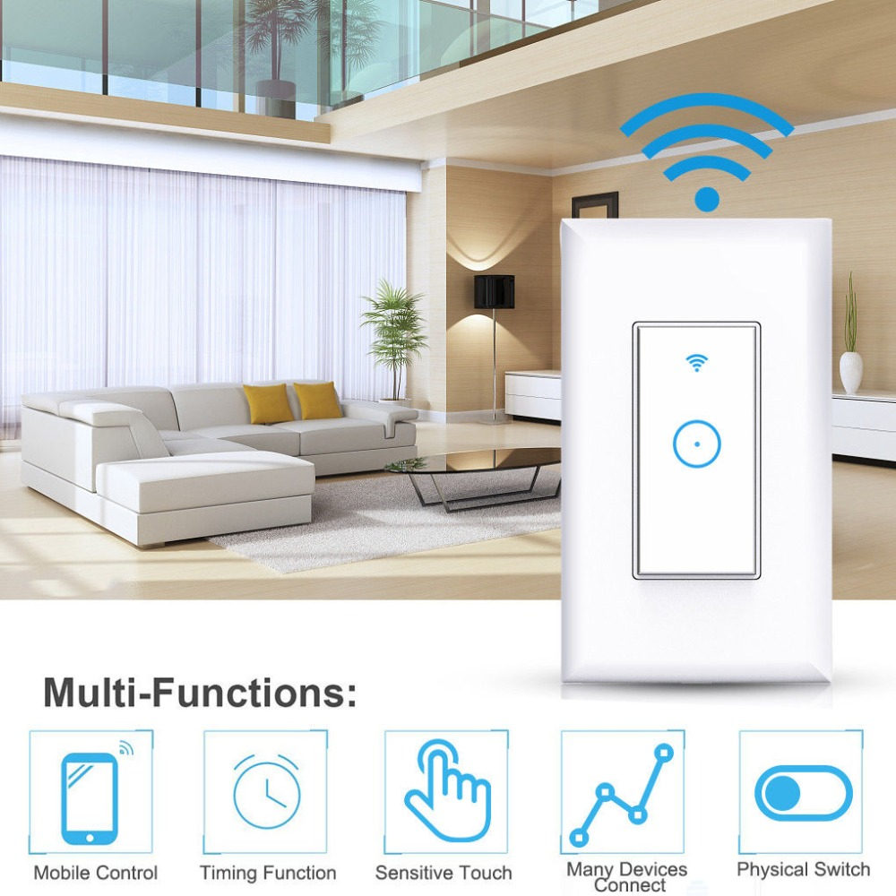 110V Smart WiFi Light Switch Compatible With Amazon Alexa Google Voice Control frankever smart products wifi voice control discolourable bulb for bedroom club compatible with alexa google home