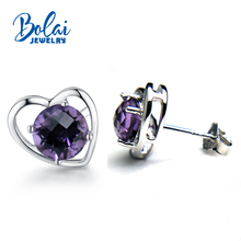 Bolaijewelry,925 silver earring with natural amethyst checkerboard cutting round6.0mm heard-shaped earring forgirl with gift box cute 925 silver giraffe earring with gift box