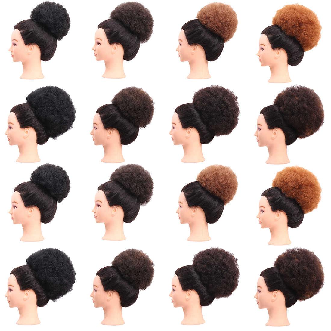 Sanggul Rambut Terbuat dari Kanekalon Wanita Kecantikan Serut Pendek Afro  Kinky Curly Ekor Kuda Klip Di 7c97328491