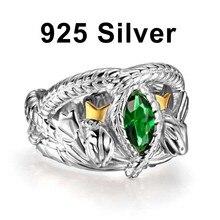 O senhor dos anéis 925 prata esterlina aragorn anel de barahir lotr anel de casamento moda masculino jóias fã presente alta qualidade