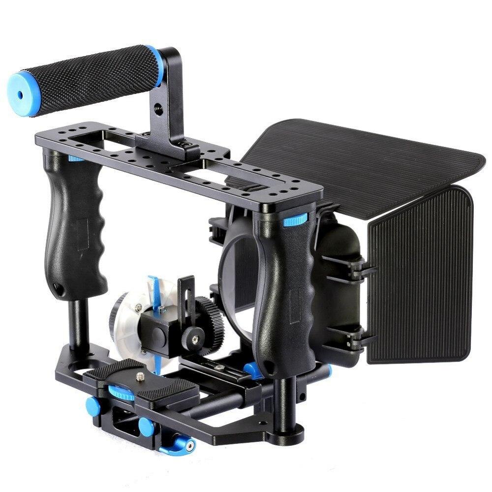 Professional Handheld DSLR Rig Camera Cage Set Matte Box Follow Focus Movie Film Support Kit for
