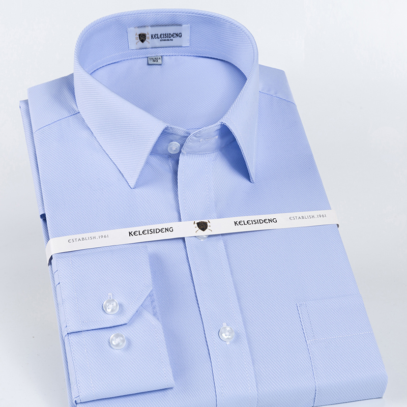 Men's Classic Long Sleeve Wrinkle Free Dress Shirt Standard-fit Formal Business Button-up Basic Design Twill Top Shirts