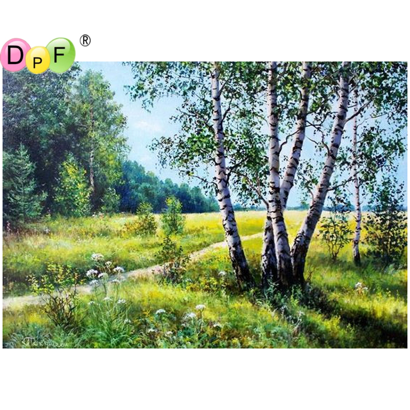 DPF DIY birch 5D diamond embroidery crafts wall painting diamond mosaic kit full square diamond painting cross stitch home decor ...