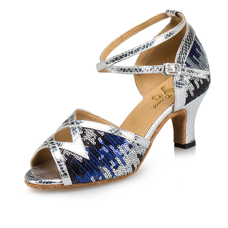 Ladies Latin Dance Shoes Glitter Rainbow Colors PU Women's Salsa Ballroom Dancing Shoes Soft Indoor High Heel 5/6/7.5cm A254(China)