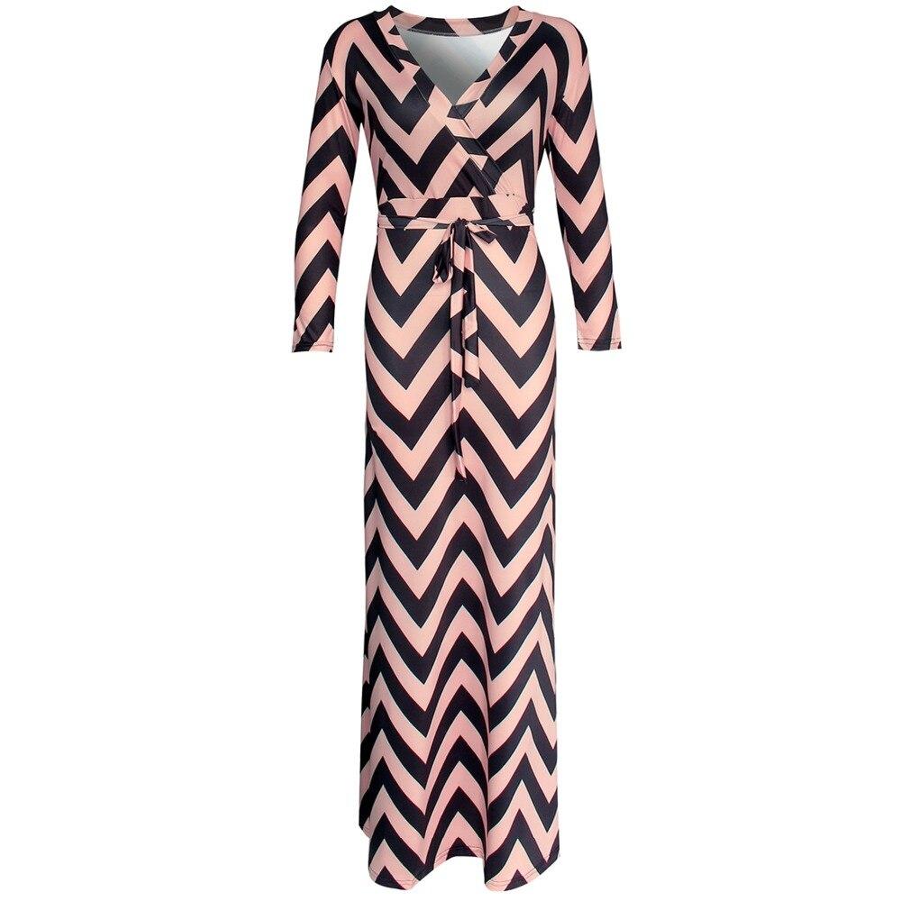 Nuevo  Otoño de Las Nuevas Mujeres Maxi vestidos vestidos Sexy vestido de rayas