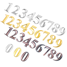 Plastic ABS Golden House Number Door Address 3D Numeral Plate Plaque Sign Sticker With Self-adhesiv For Gate Room Waterproof brushed vertical craftman address plaque