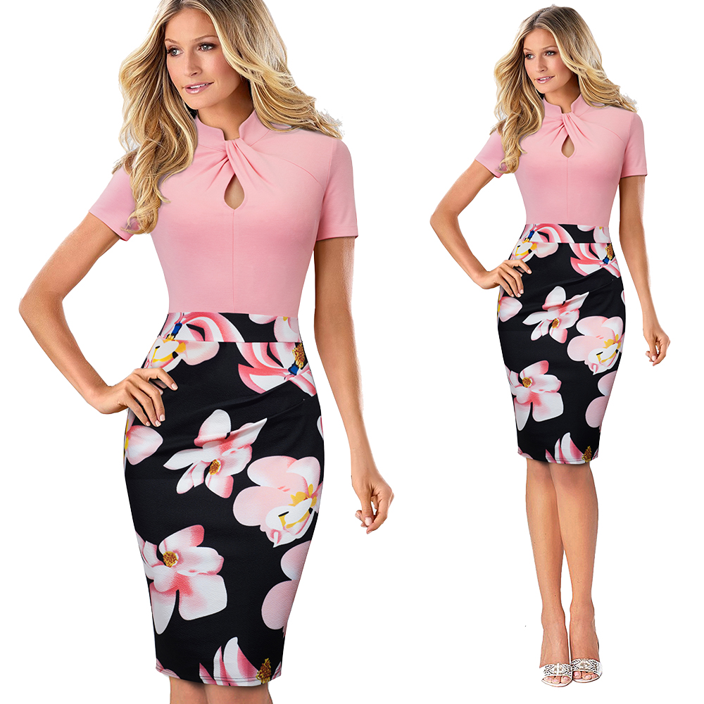 Elegant Work Office Business Drapped Contrasting Bodycon Slim Pencil Lady Dress Women Sexy Front Key Hole Summer Dress EB430 30