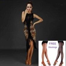 New 4 Colors Tassel Sexy Latin Dance Dress Women Printing Latin Costume Performance Dress Salsa Samba Ballroom Competition Dress
