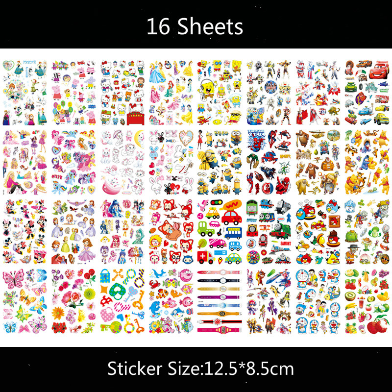 16pcs/set 12.5*8.5cm Temporary Tattoo Sticker Pets Princess Watch Unicon Child Tatouage Temporaire Body Art Tattoo Stickers