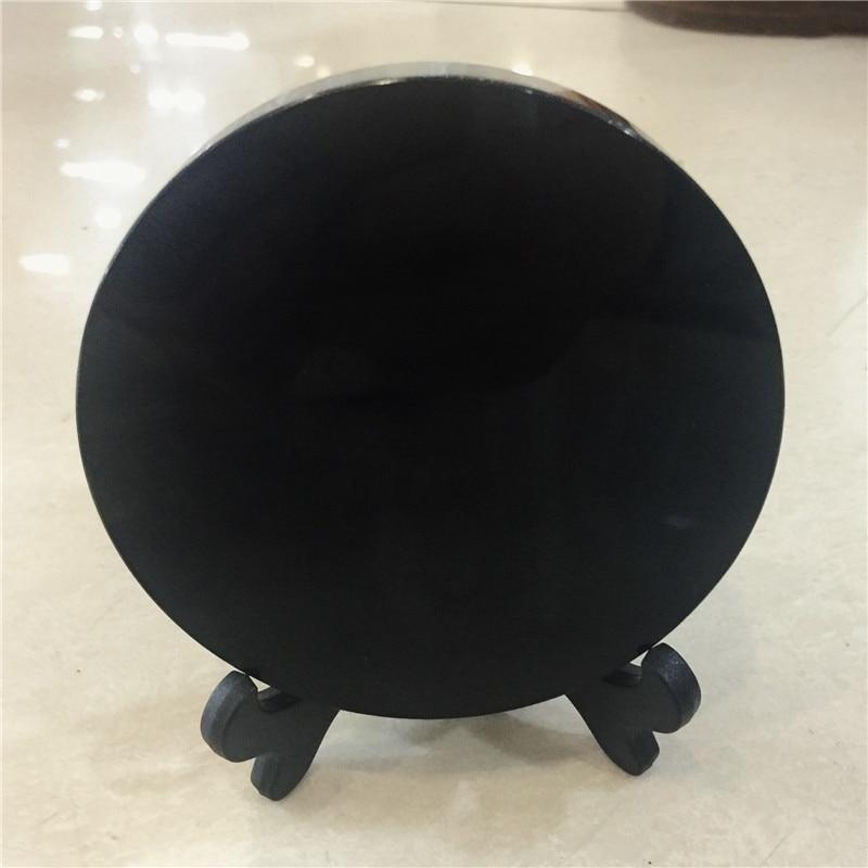 Fengshui-plaque en obsidienne noire naturelle | fengshui, miroir épais cercle disque reiki guérison pierre de cristal, avec étagère libre 200mm
