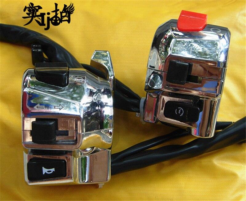 Calidad Superior metal plata cromo moto rcycle interruptor para honda suzuki yamaha moto rbike control eléctrico triciclo moto controlador