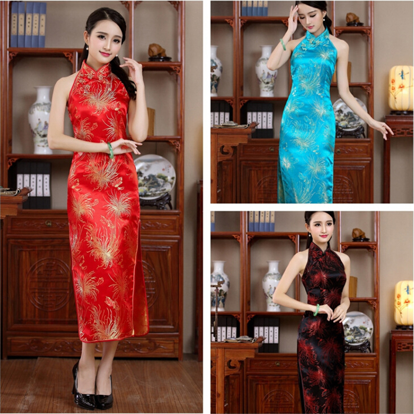 Unique Evening Party Dress for Women Chinese Traditional Cheongsam Backless Split Halter Sleeveless Vintage Flower Satin