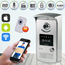 WiFi Smart Video Doorphone 1.0MP HD 720P IP Camera Wireless Video Intercom System Waterproof Iphone Android APP Mobile Doorbell