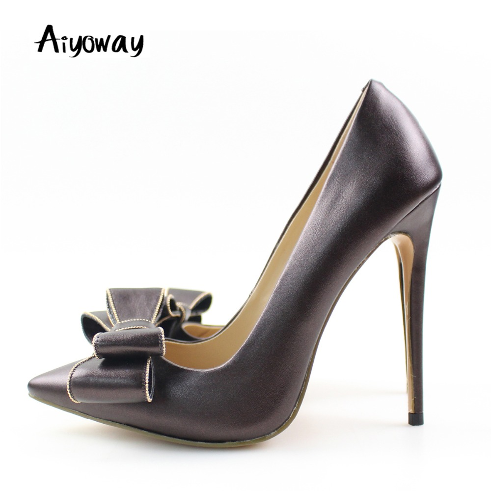 d7897c3186ec Aiyoway Elegant Women Shoes Ladies Pointed Toe Bow High Heel Pumps Autumn  Spring Party Wedding Shoes