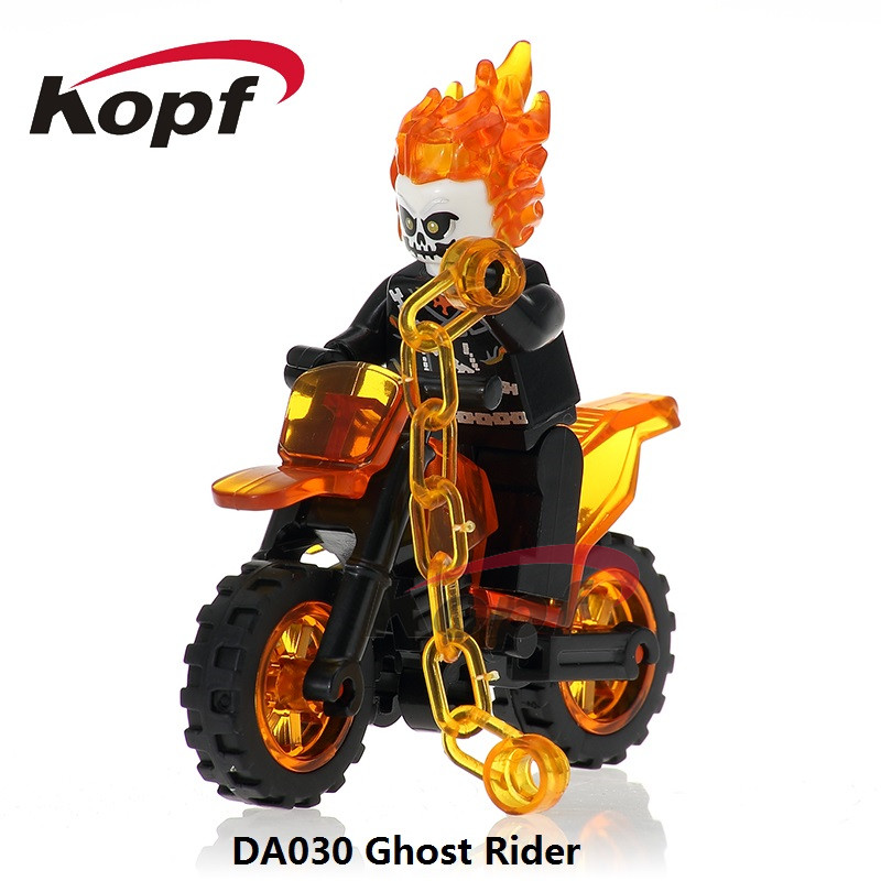 Single Sale Super Heroes Ghost Rider With Motorcycle Spiderman The Flash Mini Dolls Building Blocks Toys for children DA030 super heroes single sale the villain of yellow lantern skeletor heman he man he man building blocks toys for children gift kf921