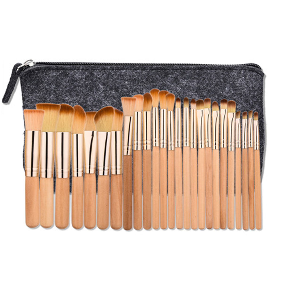 25pcs Beauty Wood Professional Makeup Brushes Set Brown Make Up Brush Tools Kit with Cosmetics Women Bag Pincel Maquiagem 23 pieces professional versatile portable makeup brush set cosmetics brushes kit make up maquillaje with grass green pouch bag