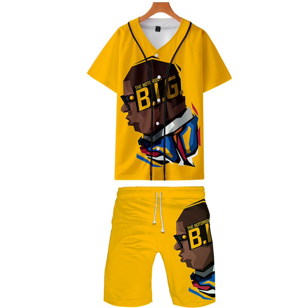 3D B.I.G Rapper Cool Men Harajuku Fruits Summer Men's Sets Beach Shorts+Baseball T-shirt Short Sleeve Multicolor Streetwear Sets